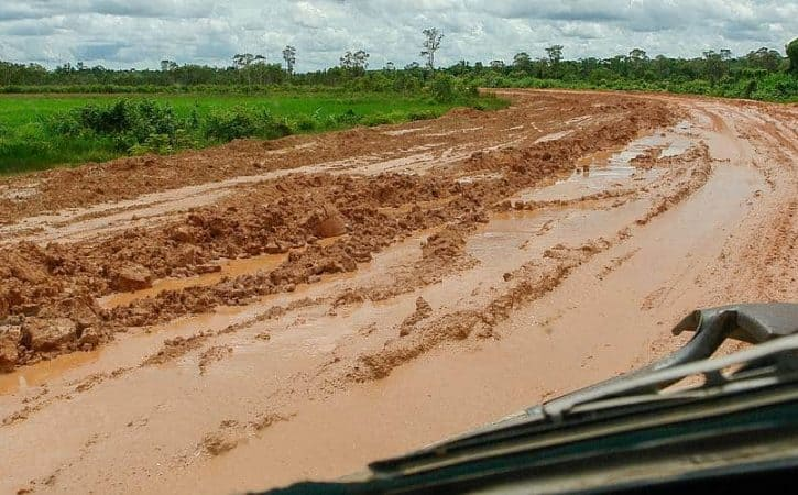 Overland adventure; driving in Cambodia's mud