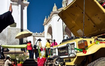 Blessing of the Land Cruiser in Copacabana, Bolivia
