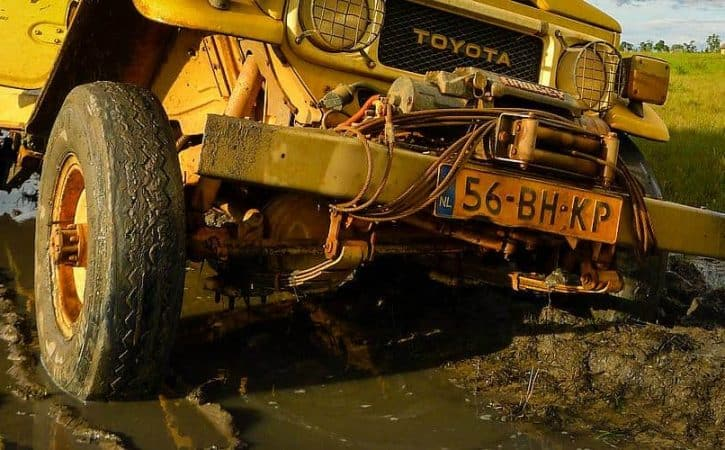 Overland adventure in Guyana; stuck in mud