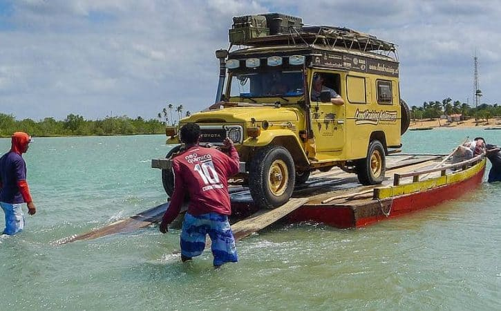 Overland adventure in Brazil; rickety ferry crossing
