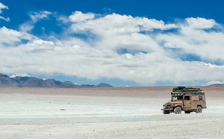 Overland off road; driving in the Lagunas region of Bolivia