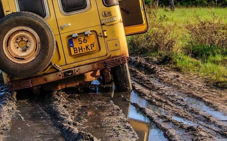 Overland off-road in Guyana; stuck in the mud