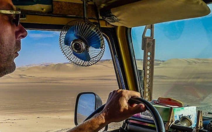 Overland Travel in Peru; endless desert