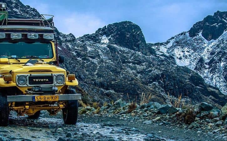 Overland adventure in Peru; traversing snowy mountain pass