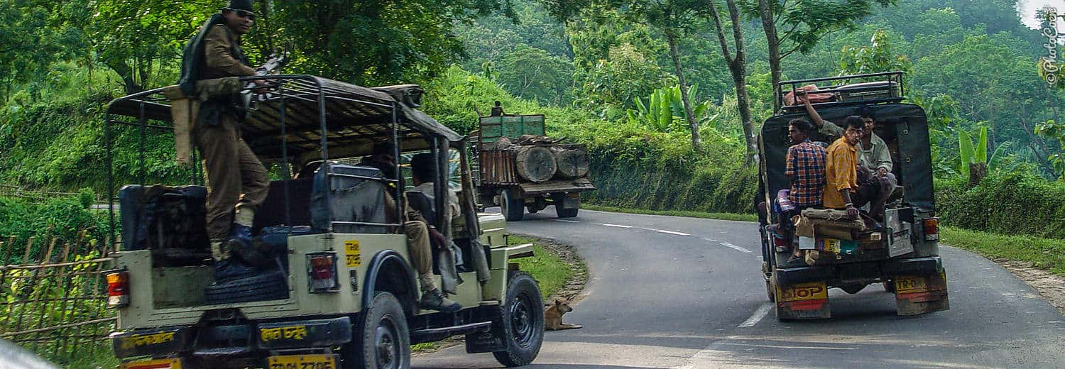 Overland adventure in India; driving in convoy