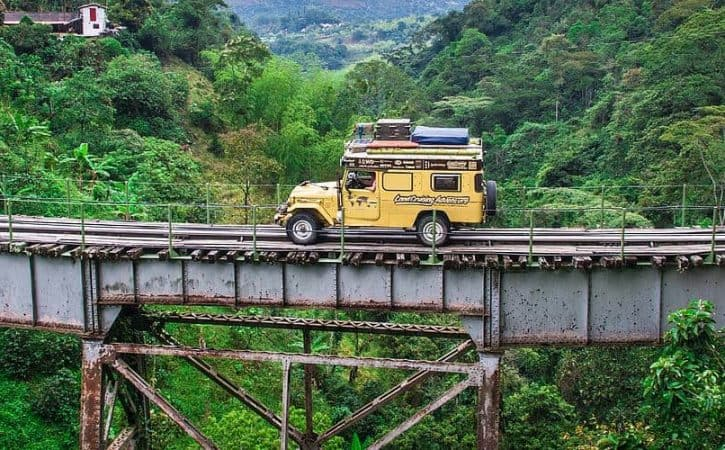 Overland adventure in Colombia; traversing the Amaga bridge