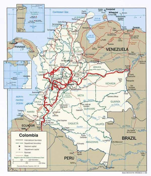 Traveled Route in Colombia