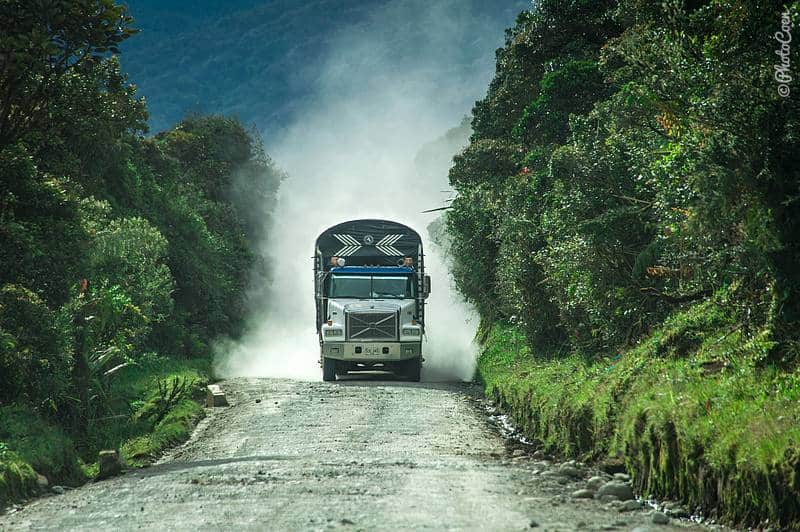 Driving in Colombia - dusty road