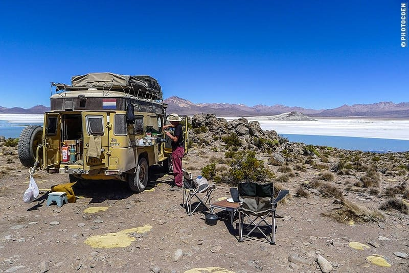 Road Trip in Chile; camping along a salt lake