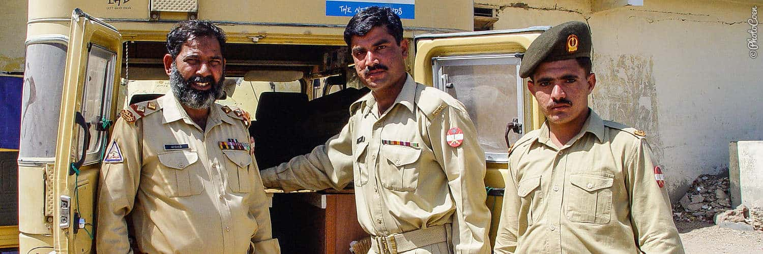 Overland safety; meeting police officers in Pakistan