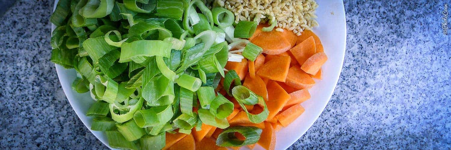 Overland recipes - creamy leek and sweet potato ingredients for soup