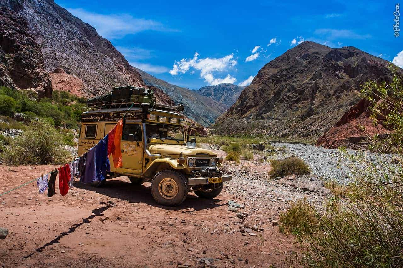 Overland camping in Argentina - in a dry river bed.