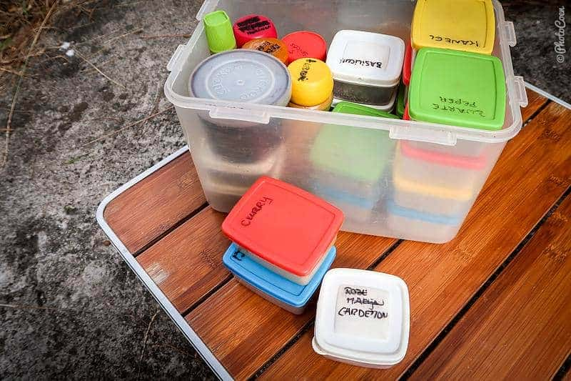 Overland kitchen: spice box with spices for the gobi masala