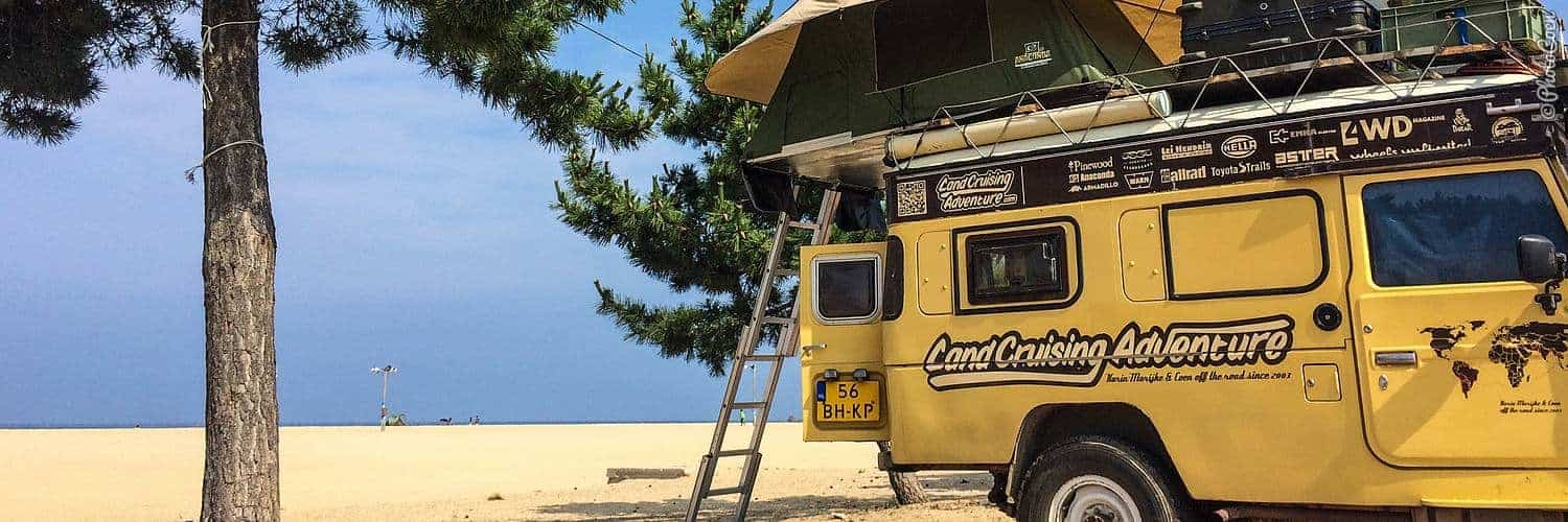 Overlanding in South Korea; pitching the rooftop tent