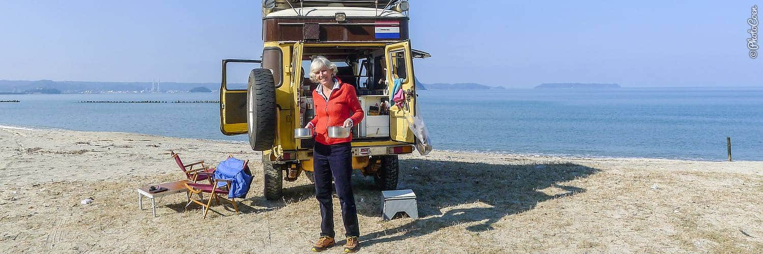Overland Japan Travel Expenses - camping along the coast