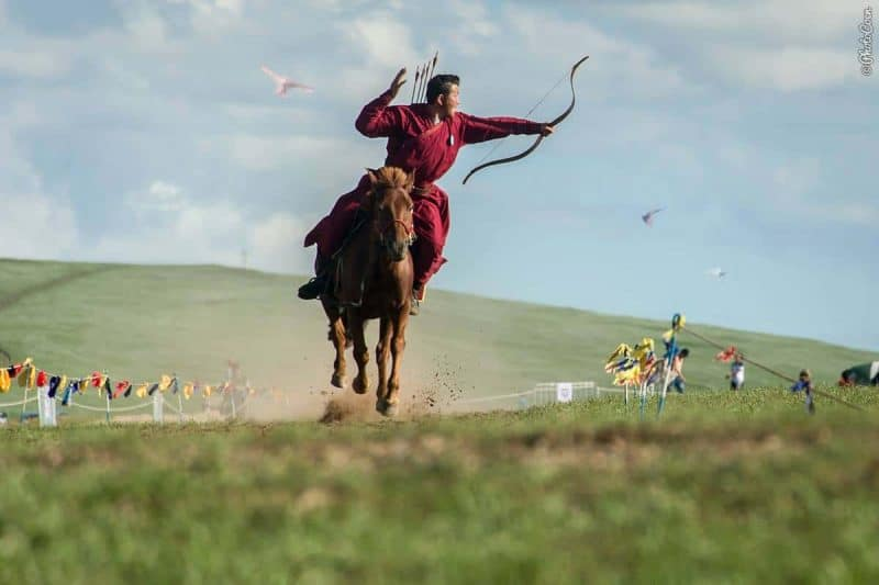 Mounted archery in Mongolia