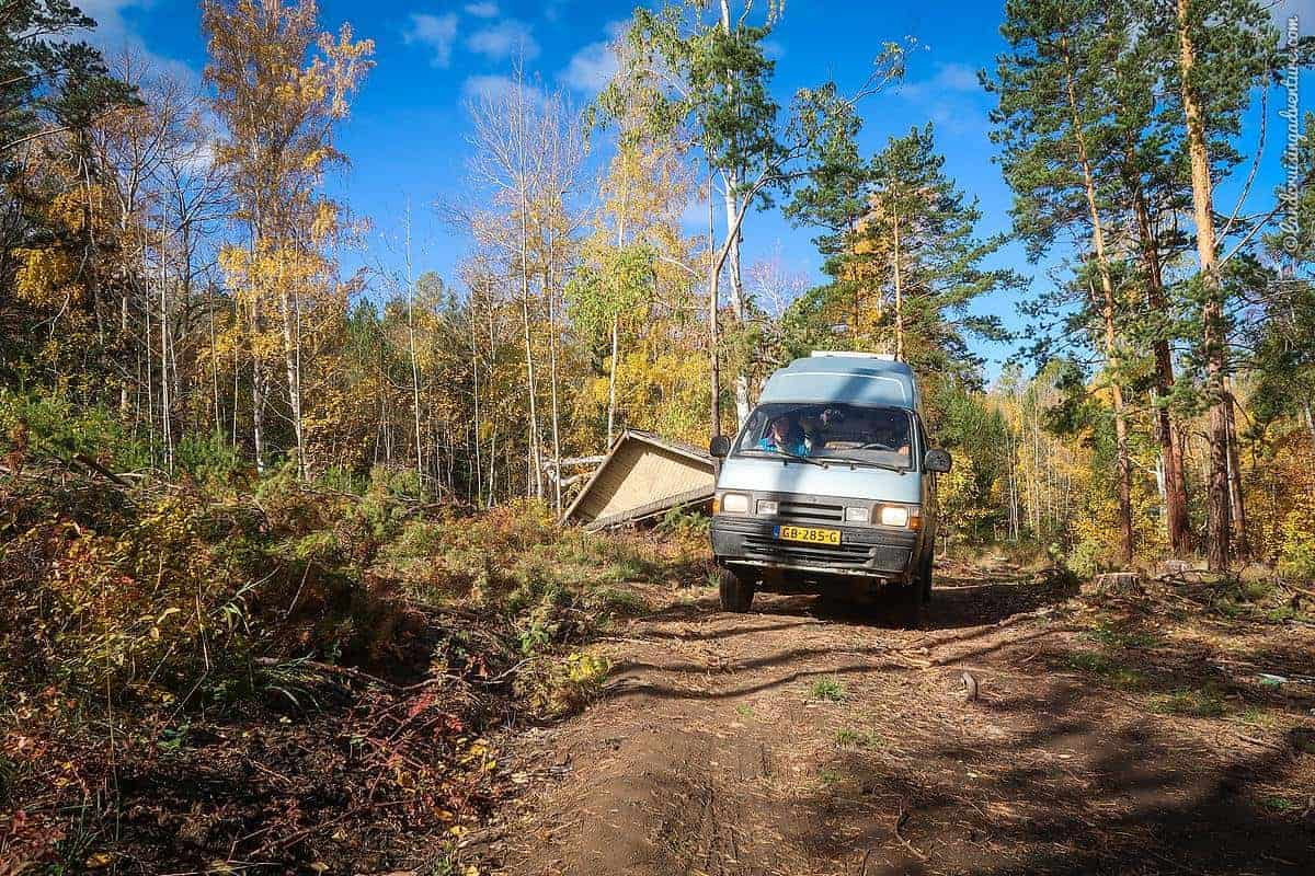 overlanding with kids - driving through the forest