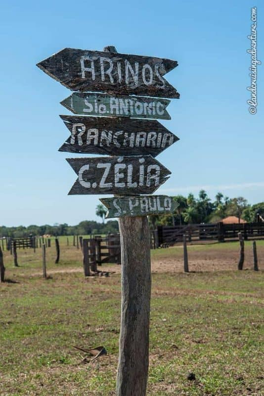 The Pantanal - Grassland, ranch and signboards.