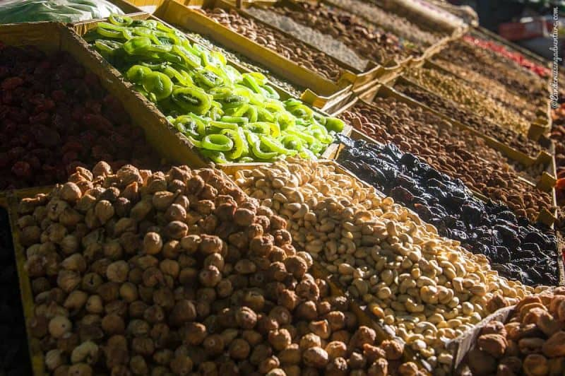 Dried fruit and nuts on a bazaar