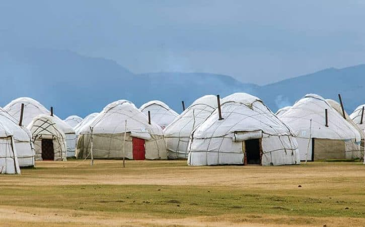 overland travel to yurt camp along Song Kul Lake