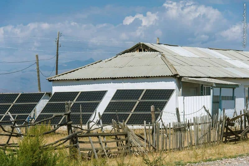 House with solar panels in Kyrgyzstan