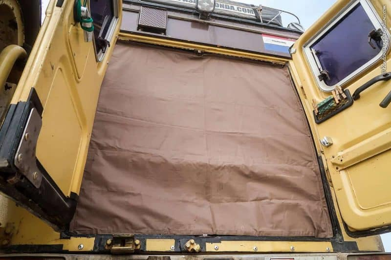 Dust screen in the rear of the Land Cruiser