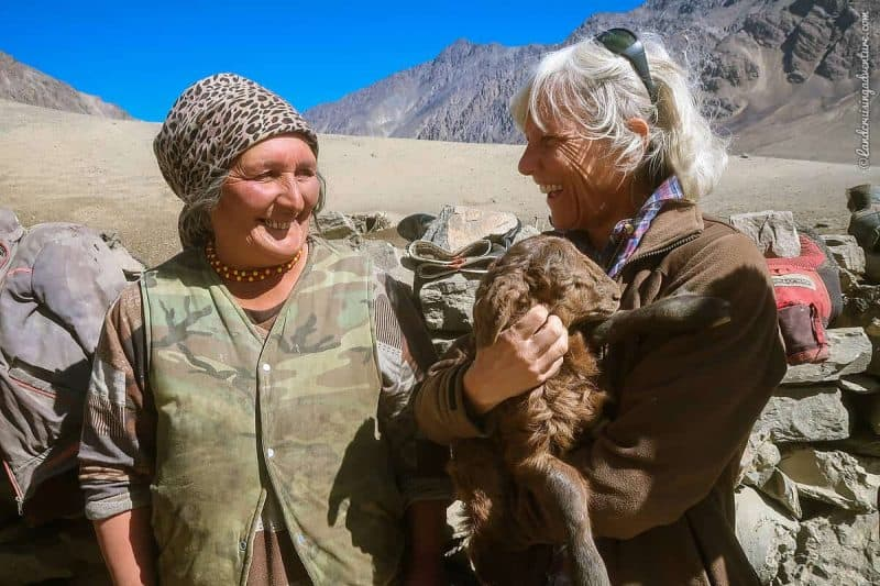 Two women exchanging smiles in the Bartang Valley, Tajikistan