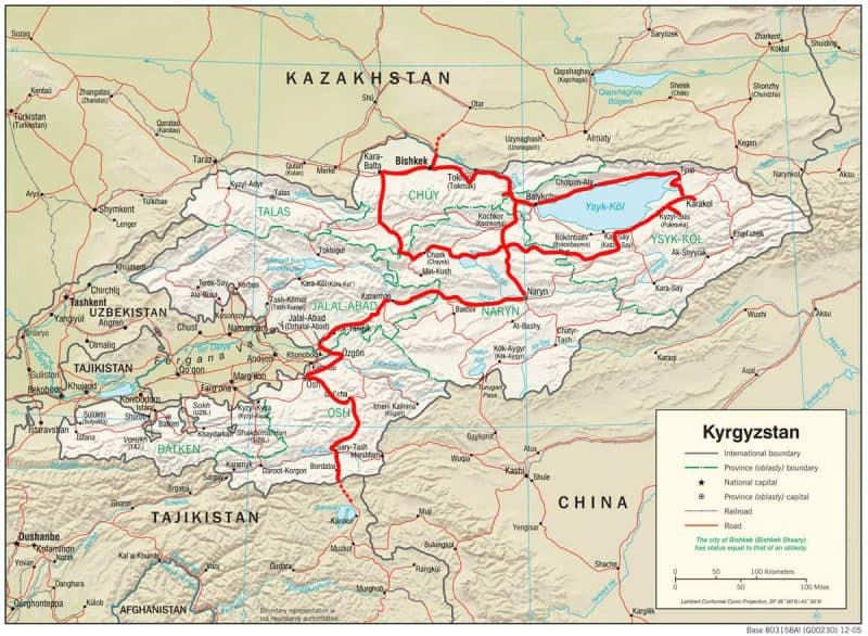 Kyrgyzstan overland travel guide - Driven route in Kyrgyzstan