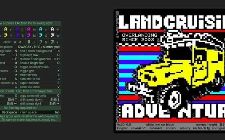 teletext revival art for landcruising adventure