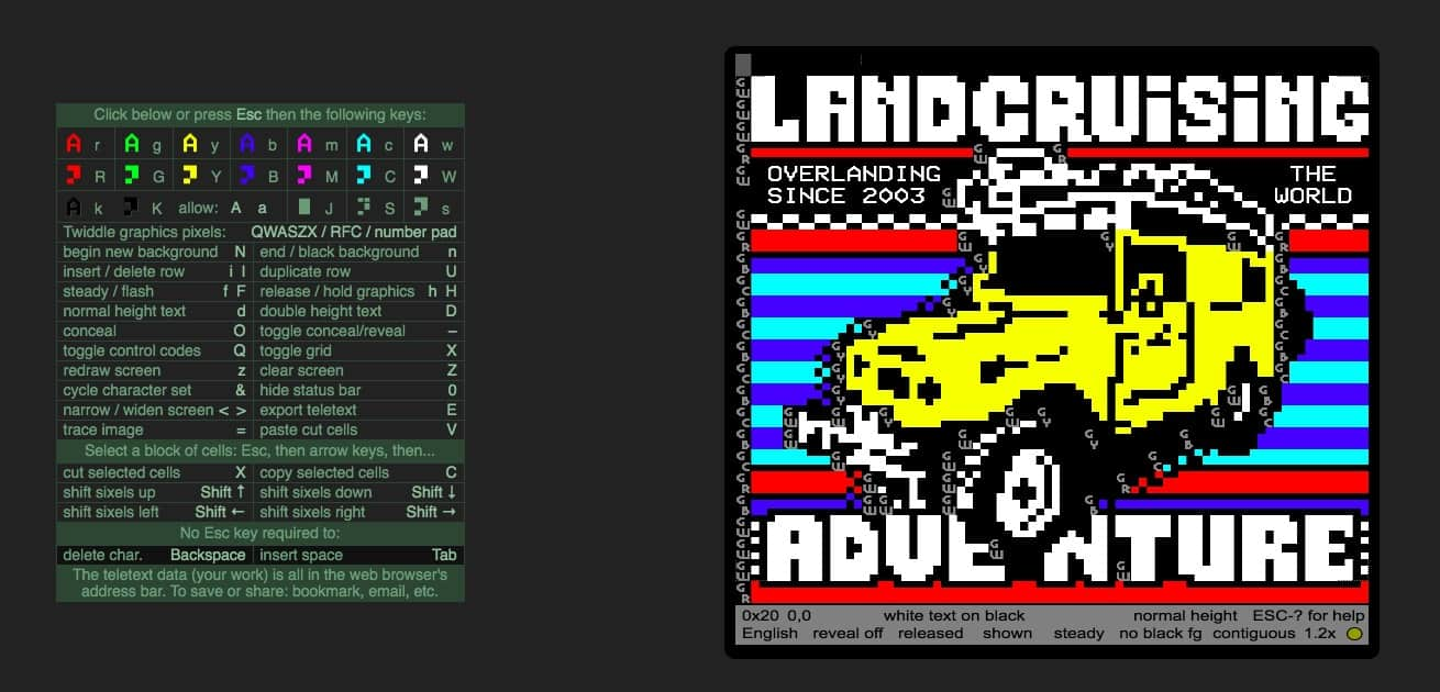 Teletext art in the landcruisingadventure shop