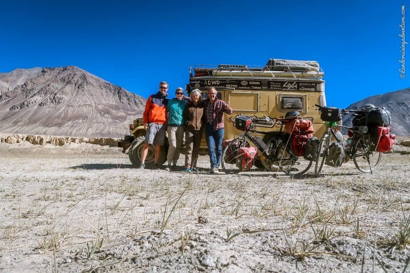 Camping in the Bartang Valley, Tajikistan, with cyclists