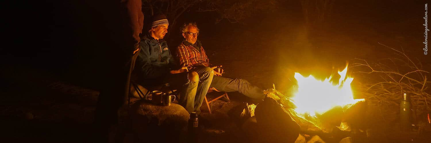 Overland camping - sharing a bonfire with fellow overlanders