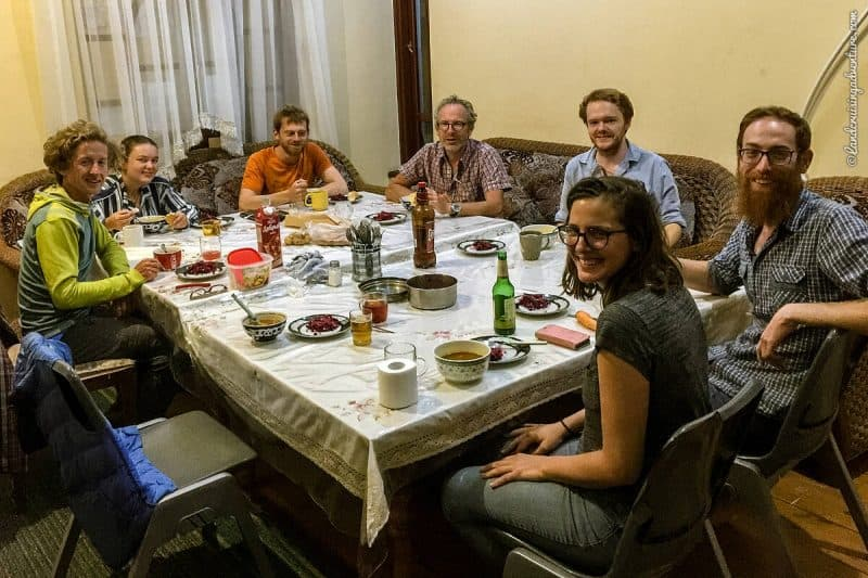 Sharing time with fellow overlanders in a hostel in Dushanbe