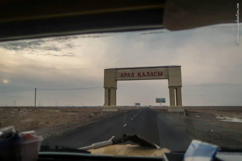 Aralsk entrance town, Kazakhstan