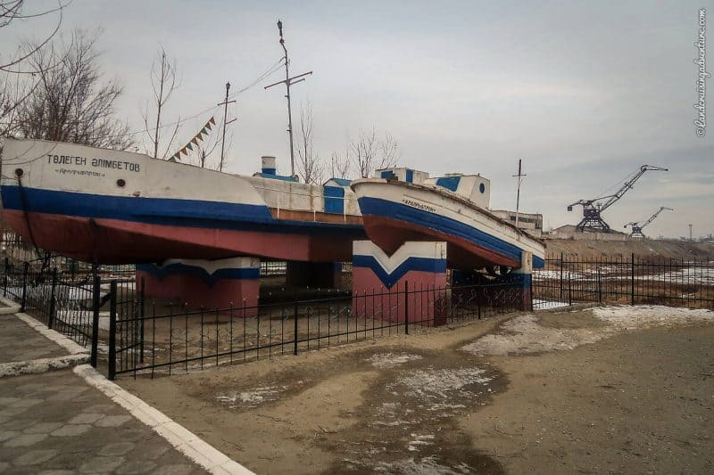 Remaining fishing boats at the Fishing Museum in Aralsk