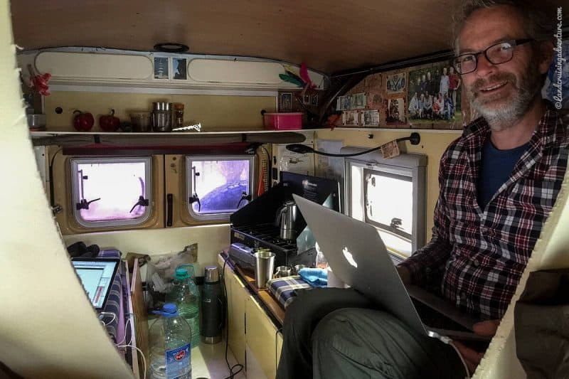 Working in the Land Cruiser