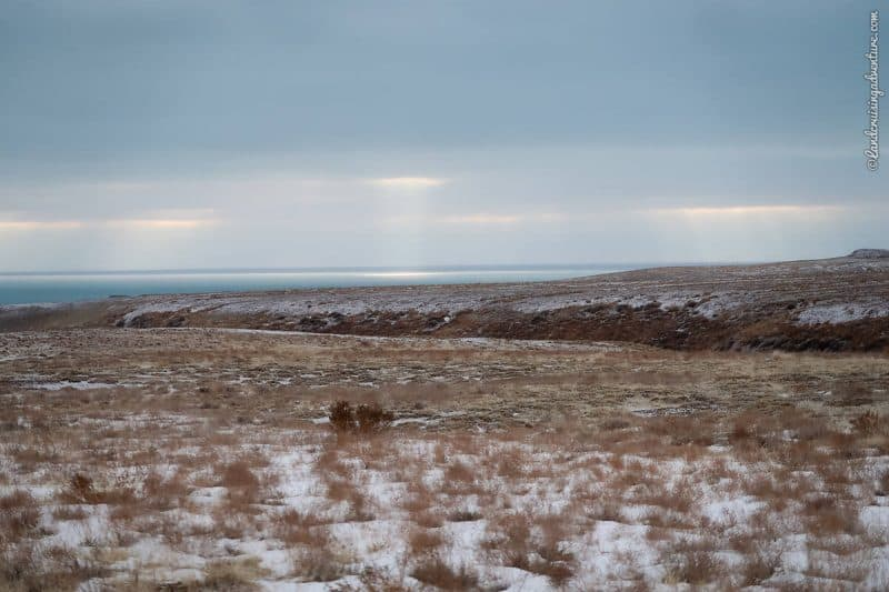 Wild camping on the steppe of Kazakhstan