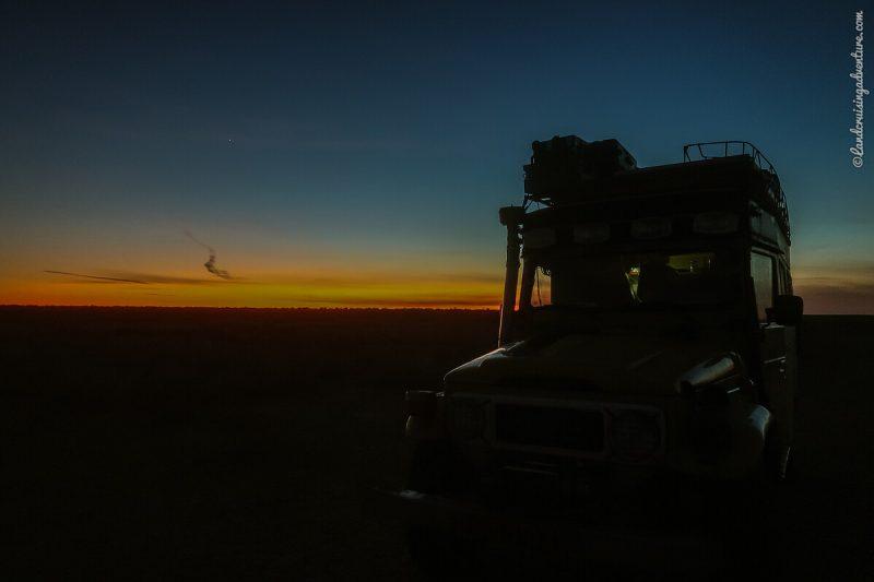 Sunset overland camp in Kazakhstan