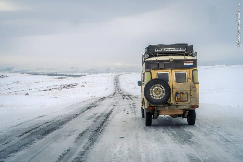 Driving in Kazakhstan winter on icy road