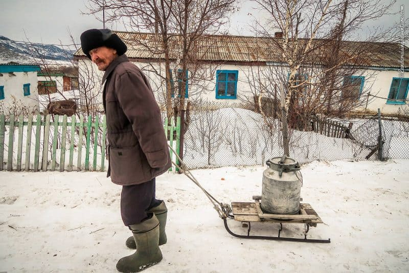 Getting water from a well in Kazakhstan