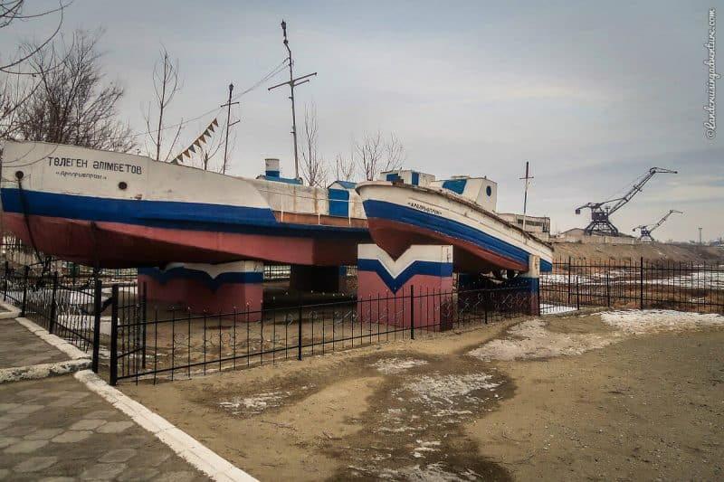 Museum in Aralsk, Kazakhstan with 4 remaining fishing boats