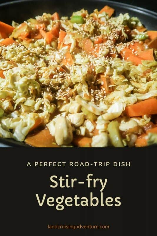 Stir-fry vegetable dish using vegetables that keep well and making it perfect for a road trip.