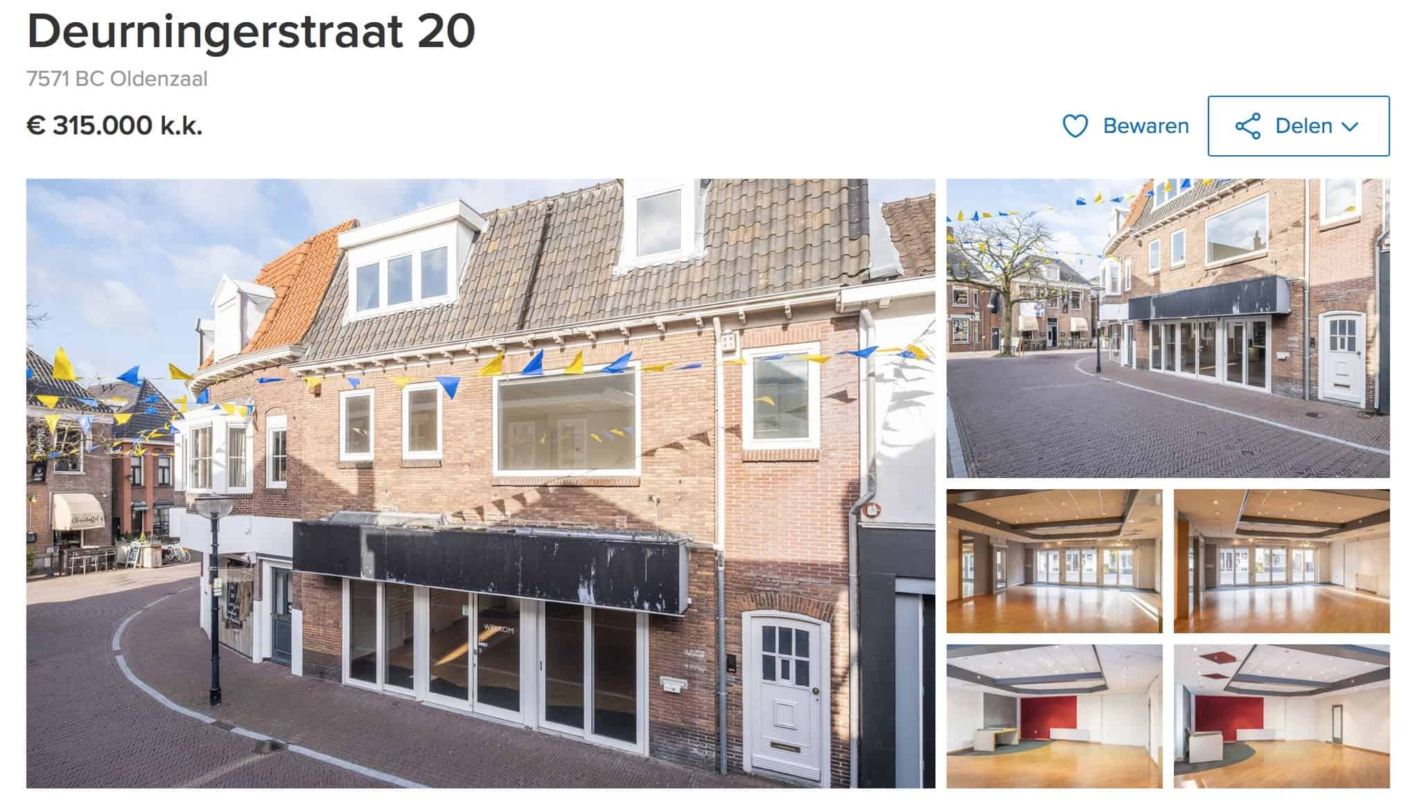 Downtown Oldenzaal for sale: a shop downstairs and a 4-room apartment upstairs.