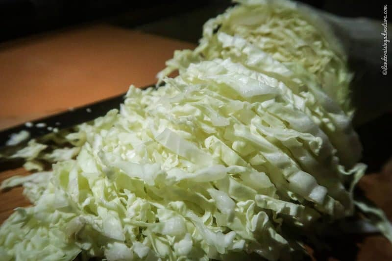 Chinese cabbage, cut