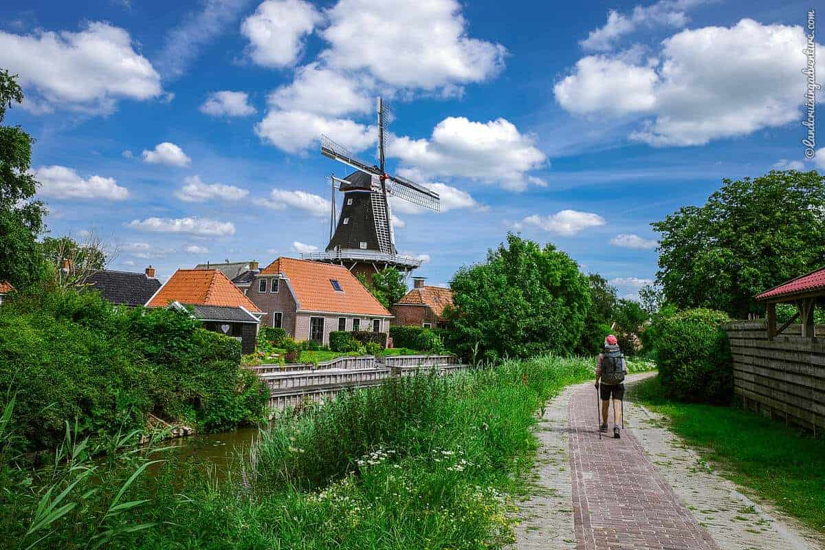 Dutch scenery of a windmill along the Pieterpad